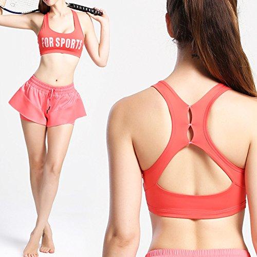 iBaste Brassière de Yoga Dos Nageur Soutien-gorge de Sport Sans Armatures Femme Rouge