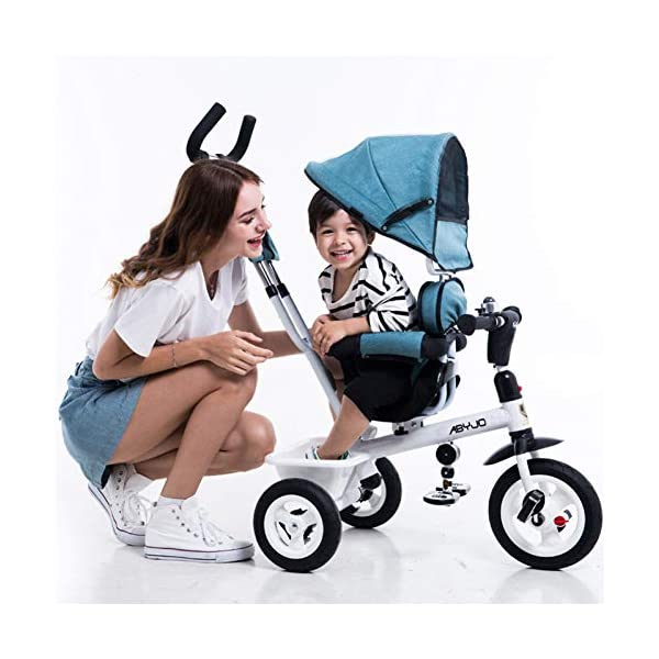 GSDZSY - Kids Tricycle Baby Carriage 3 Wheel Bike 4 In1,with Removable Push Handle Bar,Built-in Steering Link, Rubber Wheel,Soft And Comfortable Seat Can Be Rotated,1-6 Years,B GSDZSY  3