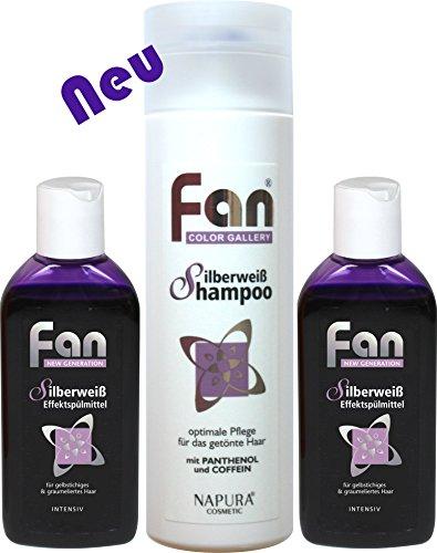 Fan Silberweiß Effektspülmittel Original 2 x 100 ml + Fan Silberweiß Shampoo 200 ml | Anti-Gelbstich