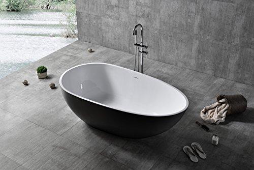 Bernstein Badshop Freistehende Badewanne VELA aus Mineralguss Solid Stone - Farbe und Größe wählbar, Farbe:Schwarz (hochglanz), Größen:150 x 76 cm