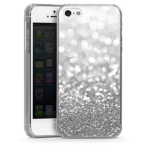 apple-iphone-5s-hulle-schutz-hard-case-cover-silber-glitzer-glitter