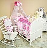 Amilian® Baby Bettwäsche 5tlg Bettset mit Nestchen Kinderbettwäsche Himmel 100x135cm NEU Chiffonhimmel Lebkuchen Rosa