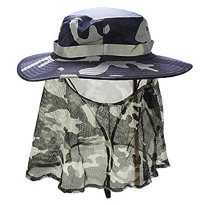 [Sonnenhut Erwachsene Nackenschutz] Fischerhut Sommer Hut Outdoor Breite Krempe + UV Schutz UPF 50+ + Versteckbares Nackentuch + Verstellbar Kopfumfang + Verstellbar Wind-Band