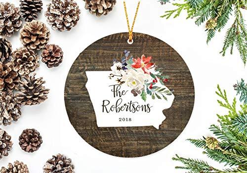 JamirtyRoy1 Iowa State Christmas Ornament with Holiday Flowers Hand Painted Cartoon Cute Ceramics Porcelain Christmas Tree Decoration Keepsake Gift, 3