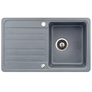 Spüle Granit Verbundspüle Küchenspüle Einbauspüle Auflage 760 x 460 mm + Drehexcenter + Siphon Spülbecken reversibel (Grau)