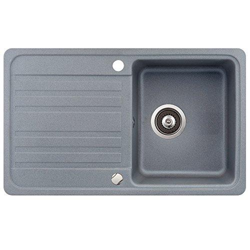Spüle Granit Verbundspüle Küchenspüle Einbauspüle Auflage 760 x 460 mm + Drehexcenter + Siphon Spülbecken reversibel
