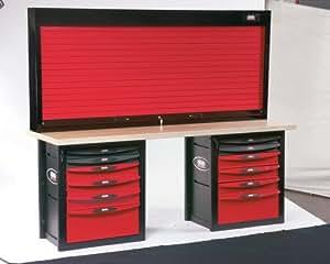 Sam outillage - 2012-PMA - Etabli d'atelier 12 tiroirs avec armoire à rideau