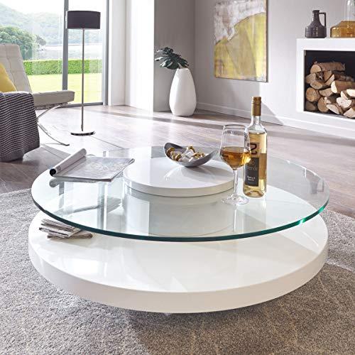 Moebella Couchtisch Glas rund weiß Hochglanz Almada Lack Sicherheitsglas Beistelltisch