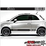 Fiat 500 Barcode Seitenstreifen Aufkleber Seite Viper Streifen Aufkleber Tuning Scheibe Lack TYP-MRS287 `+ Bonus Testaufkleber