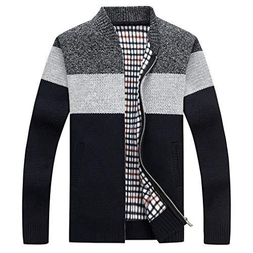 Guyufang Herbst Herren Dick Sweatercoat Gestreiften Stehkragen ReißVerschluss Pullover Mantel Oberbekleidung Winter Fleece Kaschmir Liner Pullover Black L -