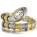 Damenuhr Damen Armband Uhren, Schlange Körper Design, Mode Damen Armreif Quarz Handgelenk Watche Mit Strass Fall (Gold-Silber)