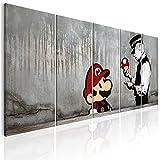 decomonkey | Bilder Banksy 200x80 cm XXL | Leinwandbilder | Vlies Leinwand | Wand | Bild auf Leinwand | Wandbild | Kunstdruck | Wanddeko Streetart Mario Graffiti Stein Grau