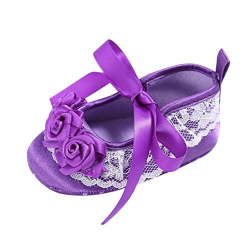 Clode® Bébé Enfant Kids Girl Souple Sole Crib Toddler Chaussures (0~ 6 mois, Blanc) Violet