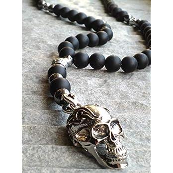 Herren Halskette totenkopf Onyx perlen Edelstein skull Necklace Rosenkranz