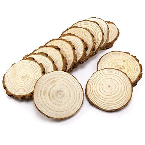 k Holzscheiben zum basteln Holz Log Scheiben 11-12 cm Rund für DIY Handwerk Hochzeit Mittelstücke Weihnachten Dekoration ()