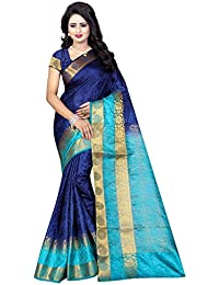 SATYAM WEAVES WOMEN'S ETHNIC WEAR COTTON SILK DARK BLUE-BLUE COLOUR SAREE WITH BLOUSE PIECE.