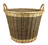 Unpeeled & Buff Willow Wicker Round Log Basket - lined