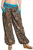 ufash Haremshose/Pumphose im Italienischen Design, mit Passendem Stoffgürtel, 100% Baumwolle, dunkelblau