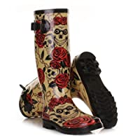 Womens Skulls and Roses Wellies Festival Boots SIZE 8