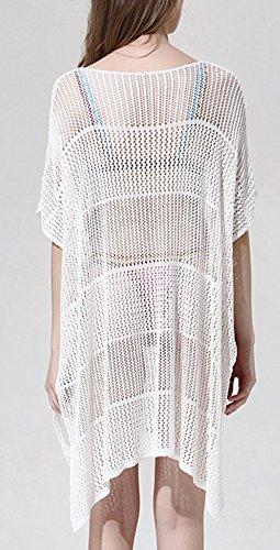 Lannorn Damen 10 Stile Sommer Überwurf Baumwolle Spitze Hohlen Strand Bikini Cover Up Kittel Strandkleid Bademode Kleid. # 244 Weiß