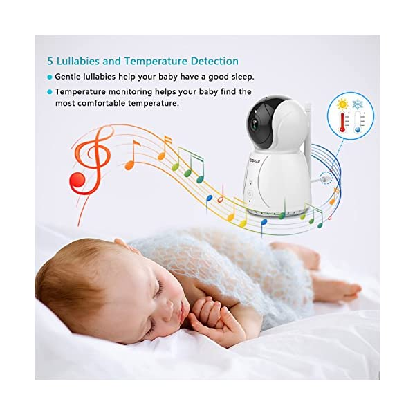 "BIGASUO Video Baby Monitor 2018 with Camera & 720P 7"" HD LCD Digital Screen, Two Way Audio & 5 Baby Lullabies, Sound & Movement Alarm, Night Vision, Wireless Video Baby Monitor BIGASUO 【7'' Large Color LCD Display】The BIGASUO baby monitor offer you the clearest visual experience with the 7'' high-quality LCD HD screen and 2.4G HZ WiFi connection technology. 【5 Built-in Lullabies and Night Vision】Gentle lullabies help baby get into sweet dreams soon. View your baby and the room in low light even dark surroundings. 【Two-way audio communication】You can use the speaker of our baby monitor to talk to your cute baby and hear their replies at any time. 6"