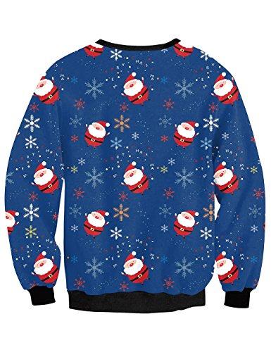 YesFashion Femme sweater de noel manches longues col rond imprimé père de noel cloches B Bleu