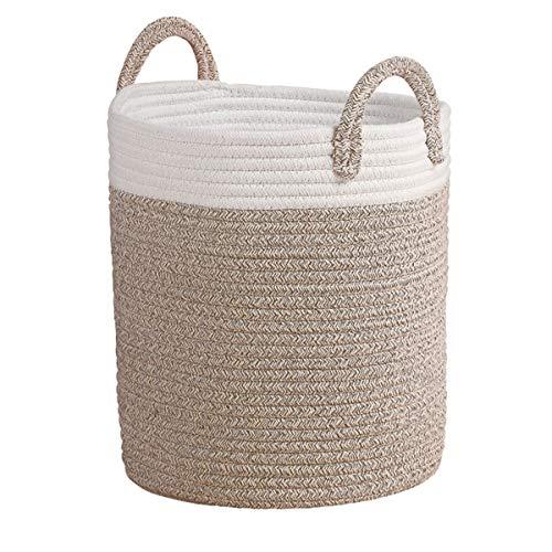 Coton Panier de rangement Panière à linge pliables avec Poignée en corde Sac lavable Naturelle Grand H38 x Ø32cm solid