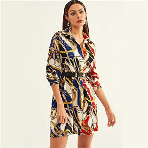 JJHR Kleider Chain Print Button Workwear Hemdkleid Damen Kleidung Frühlingsmode Elegantes Kurzes Kleid Büro Damenkleider, Xs -
