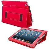 Etui iPad 3, Snugg™ - Housse de Protection en Cuir Rouge, Style Smart Case Avec Garantie a Vie Pour Apple iPad 3