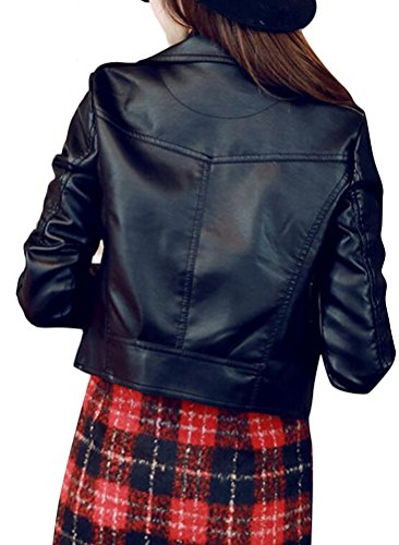 Ghope Damen Jacken Kunstleder Jacke Biker Style Blouson Damenjacke kurz Schwarz