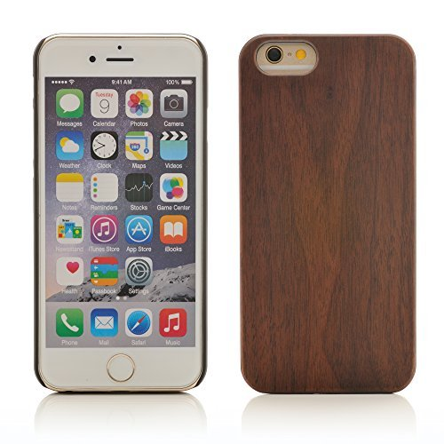 iProtect TPU Schutzhülle Apple iPhone 6, 6s (4,7 Zoll) Soft Case - flexible Hülle in Holz-Design hölzern braun Walnussholz+PC Hardcase
