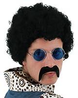 MENS 70S SET BLACK AFRO WIG + BLACK MOUSTACHE + ROUND GLASSES FANCY DRESS ACCESSORY COSTUME QUICK KIT 1970'S RETRO DISCO