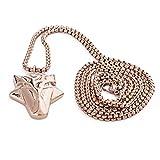 Akitsune Ferus Anhänger inkl. 90cm Kette - Halskette für Frauen und Herren aus Edelstahl - Fuchs Tier Minimalist Massiv - Roségold