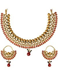 Adiva Kundans Wedding Maroon Green Copper Alloy Jewellery Set With Necklace And Earring For Women