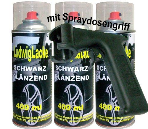 3 Lackspray Schwarz glänzend 400 ml je Spraydose + Spraydosengriff -