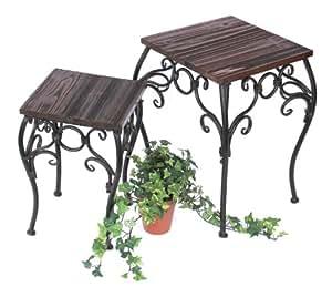 DanDiBo Tabouret porte-fleurs Set 2 pcs. 12593 Porte fleurs 34, 43cm carré Colonne à fleurs Table