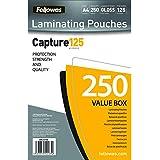 Fellowes - Pack ahorro 250 fundas de plastificar, formato A4, 125 micras