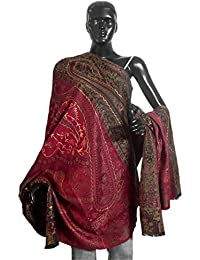 DollsofIndia Embroidered Maroon Woolen Shawl - 42 x 82 inches (NO96)