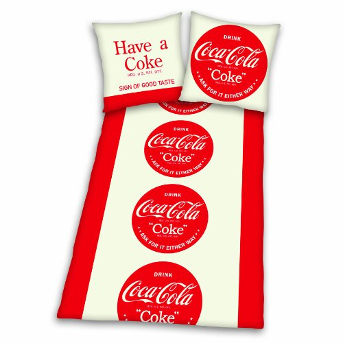 Herding 448933050 Bettwäsche Coca Cola 80 x 80 + 135 x 200 cm; Linon