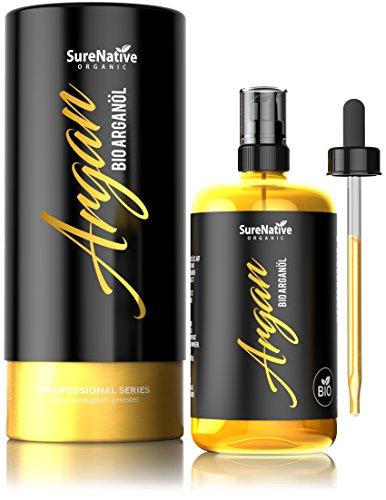 BIO Arganöl 100ml für Haare, Haut & Gesicht, Argan Oil, Argan Öl 100% rein & kaltgepresst original aus Marokko, Anti-Falten Anti-Aging Serum, nur frische Argannüsse aus zertifiziert biologischem Anbau