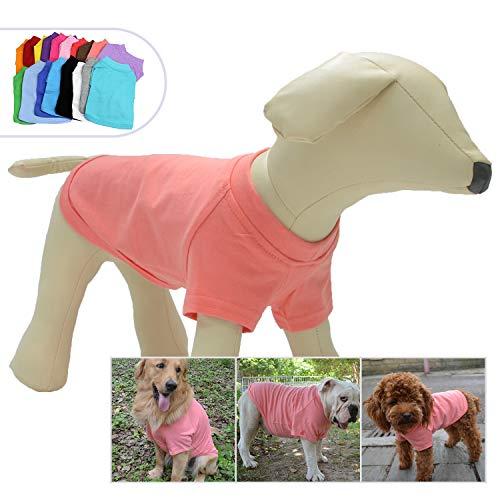 lovelonglong Hunde-T-Shirt für 2018, blanko, für kleine mittelgroße und große Hunde, 100% Baumwolle, klassisch, XXL, Lotus Pink (Bekleidung Pink Lotus)