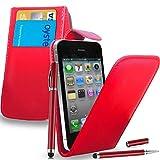 Gbos Apple iPhone 4S/4 - Leder Flip Hülle Tasche + 2 in 1 Stylus Pen + Screen Protector & Poliertuch (Red)