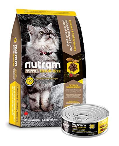 Nutram T22 6,8 Kilo Total Grain-Free Chicken and Turkey getreidefrei Katzenfutter Huhn Truthahn trocken + 156gr. Nassfutter