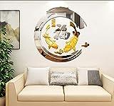 Layyyqx Chinois Feng Shui Poisson Acrylique 3D Stickers Muraux Salon Entrée Moderne Maison Décoration Murale Miroir Mural Autocollant 59X60 Cm...