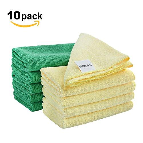 Preisvergleich Produktbild CHARM & MAGIC Mikrofaser Reinigungstücher 40 x 40CM für Autos Staubwischen Küche Büro 10 Stück (5 Grün+5 Gelb)