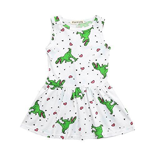 sunnymi  Mädchen Kleid, Baby Mädchen Kleid Cartoon Dinosaurier Striped Print 3D Rückenflosse Outfits -