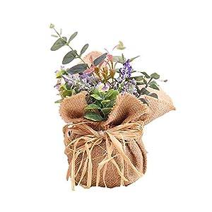 BIGBOBA Lavanda Plantas Artificiales-Maceta de Tejido de lino flores Artificiales Decorativas de Hogar Oficina Mesa de Centro, Alféizar, Balcón