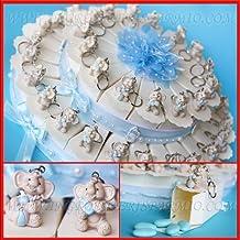 Tarta bombonera de cartón blanco decorada con cristales y flores, confitera, cada porción incluye