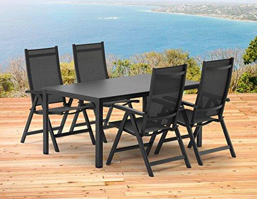Kettler BASEL Gartenmöbel 1 Tisch 140x95 cm und 4 Klappsessel in anthrazit