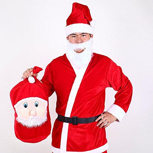 Septven Sankt-Klage-erwachsene Größe mit Jacke, Hose, Gürtel, Bart und Hut (Es kommt mit (Hut Velvet Santa)